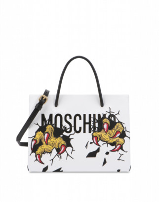 Moschino Monster Hands Shopper Woman White Size U It - (one Size Us)