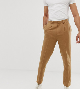 ASOS DESIGN Tall tapered smart trouser in textured camel