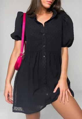 Missguided Black Dobby Puff Sleeve Smock Dress