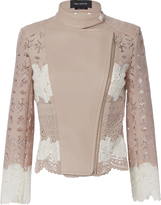 Yigal Azrouel Lace Blush Moto Jacket