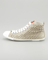 Prada Studded Glitter High-Top Sneaker, Gold