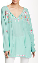 Peach Love Cream Embroidered Floral Tunic