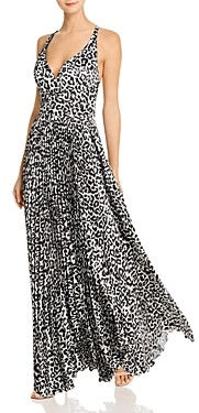 Laundry by Shelli Segal Animal Print Pleated Gown
