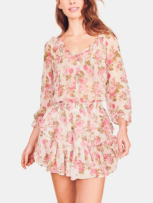 LoveShackFancy Popover Long Sleeve Mini Dress