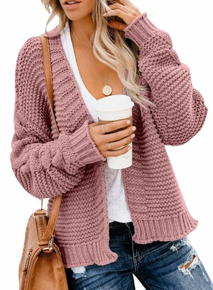 Asvivid Women Open Front Long Sleeve Chunky Knit Cardigan Sweaters Outwear with Pockets Gray