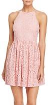Aqua Geometric Lace Dress