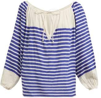 Mes Demoiselles Bretonne Striped Cotton Blouse - Womens - Blue Stripe