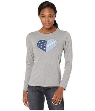 Life is Good Flag Heart Long Sleeve Crusher Tee (Heather Gray) Women's Clothing