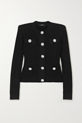 Balmain Button-embellished Ribbed-knit Cardigan - Black