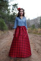 Shabby Apple Snow Ball Maxi Buffalo Plaid Skirt