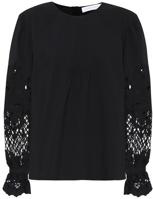 See by Chloe Lace-trimmed cotton blouse