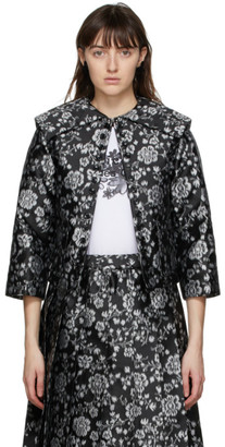 Comme des Garcons Black and Grey Floral Jacquard Jacket