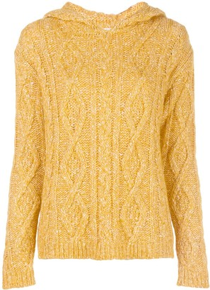 Majestic Filatures Cable-Knit Hooded Top