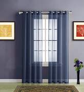 """Warm Home Designs Short Navy Blue Sheer Window Curtains with Grommet Top for Bedroom, Kitchen, Kids Room or Living Room, 2 Voile Panel Drapes 54-Inch-by-63-Inch - K Navy 63"""""""
