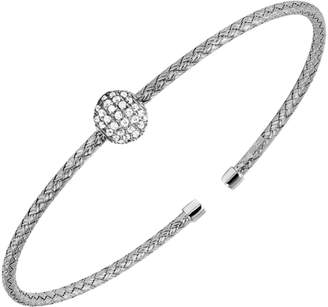 Charles Garnier Paris Gail Sterling Silver Crystal Cuff Bangle Bracelet