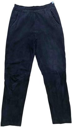 Saint Laurent Navy Suede Trousers