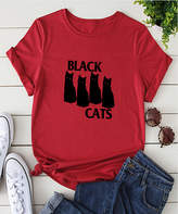 Basico Women's Tee Shirts Red - Red 'Black Cats' Tee - Women & Plus