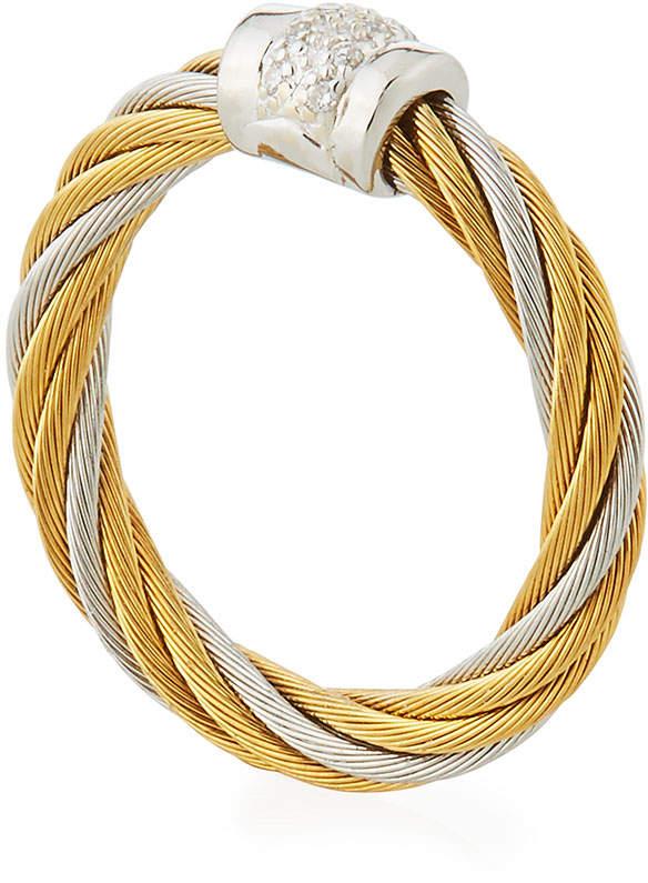 Alor Classique Two-Tone Diamond Ring, Size 6.5