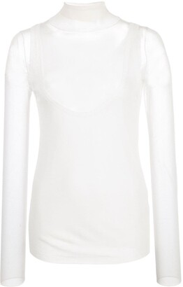 Proenza Schouler White Label Layered Gauge Knit Turtleneck Top