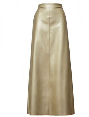 Gold Long Faux Leather Skirt With Slit