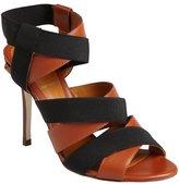 Fendi brown leather elastic strap sandals