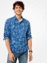 Michael Kors Slim-Fit Peace-Print Linen-Cotton Shirt