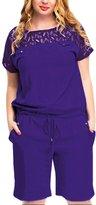AMZ PLUS Round Neck Lace Short Sleeve Stitching Elastic Plus Size Jumpsuits 3XL