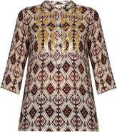 Figue Jasmine sequin-embellished silk tunic top