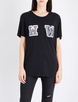 Off-White Ladies Black Embroidered W-Appliqué Oversized Cotton-Jersey T-Shirt
