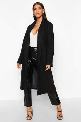 boohoo Shawl Collar Button Wool Look Coat