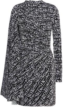 Balenciaga Cape-effect Printed Chenille Mini Dress