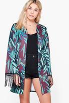 Boohoo Holly Tropical Print Tassel Trim Kimono