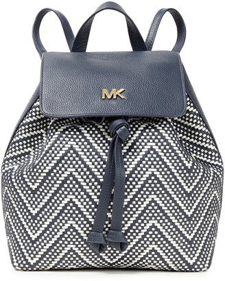 MICHAEL Michael Kors Basketweave And Pebbled-leather Backpack