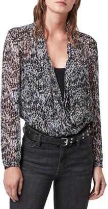 AllSaints Camille Mara V-Neck Long Sleeve Bodysuit