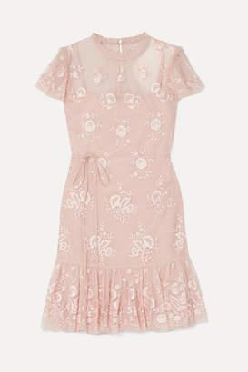 Needle & Thread Ashley Embroidered Tulle Mini Dress - Blush