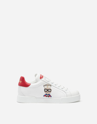 Dolce & Gabbana Calfskin Nappa Portofino Sneakers With Patches Of The Designers