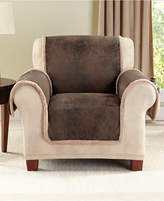 Sure Fit Vintage Faux Leather with Sherpa Pet Chair Cover