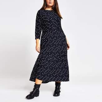 River Island Womens Plus Black spot midi smock dress