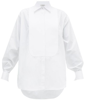 Givenchy Bib Front Crystal Button Cotton Tuxedo Shirt - Womens - White