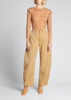 Chloé Metallic Cable-Knit Ruffle Sweater