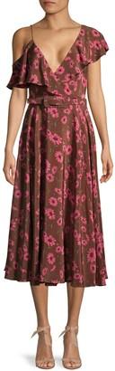 Michael Kors Floral Asymmetric Ruffle Silk Dress