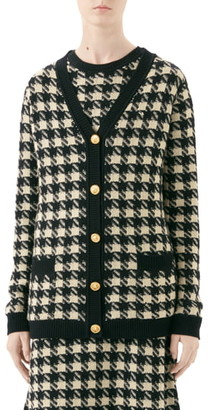 Gucci Houndstooth Jacquard Cashmere & Silk Cardigan