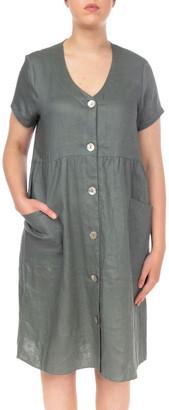 Jump Button Thru Linen Dress