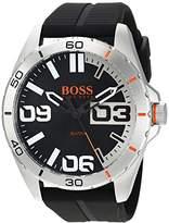 HUGO BOSS BOSS Orange Men's 'Berlin' Quartz Stainless Steel and Rubber Casual Watch, Color:Black (Model: 1513285)