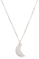 14K White Gold & 0.23 Total Ct. Diamond Moon Pendant Necklace