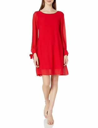 Taylor Dresses Women's Crepe and Chiffon A Line Swing Dress