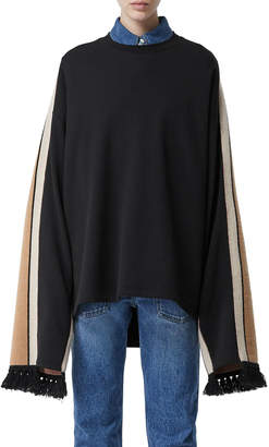 Burberry Otoko Cotton Sweatshirt with Cashmere-Scarf Back