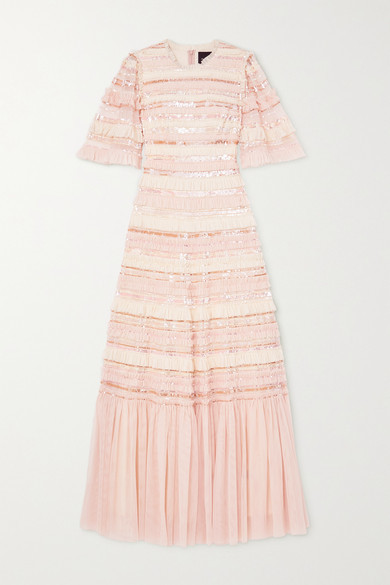 Thumbnail for your product : Needle & Thread Nancy Sequin-embellished Ruffled Tulle Gown - Blush