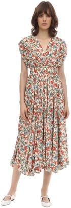 Emilia Wickstead Floral Print Silk & Wool Midi Dress