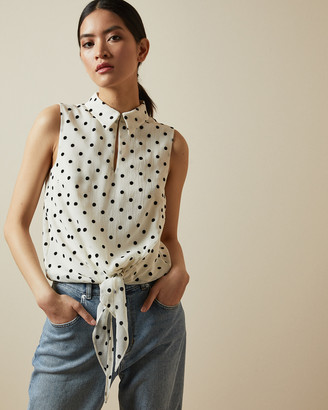 Ted Baker CAII Spotted tie waist blouse